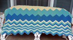 Hand Crochet Afghan/Throw - Blues & Beige, Warm, Chevron - Vintage - Fabulous! by YPSA on Etsy