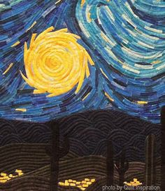 Arizona Starry Night by Alicia Sterna. 3rd place, 2016 AZQG show. Closeup photo by Quilt Inspiration.
