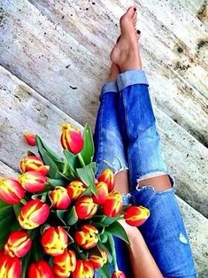 Blooms and denim.
