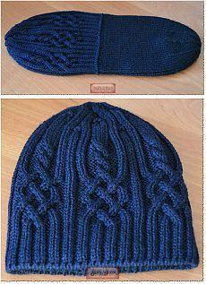 Красивый перегиб\сгиб на шапке вязаной спицами.