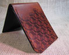 wallet - leather wallet - men wallet - Box pattern wallet.