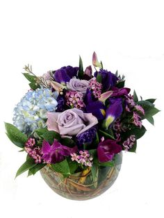 Purple mixed bubble bowl with roses, orchids, and hydrangea $70