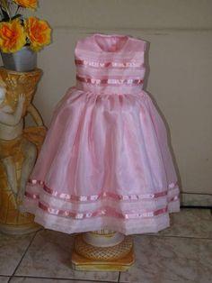 Lindo vestido organza rosa