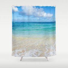 Beach Shower Curtain with Hawaiian ocean view from beachlovedecor.com, 71x74 inches #ocean #beach #showercurtain #bathroomdecor #bathdecor #beachlovedecor