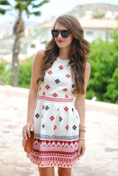 White Summer Dress Lovely Print and Shape