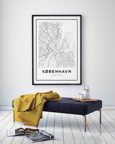 Copenhagen kaart afdrukken met Scandinavische Print zwart-wit