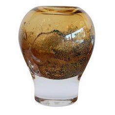 Volcano Vase by Heikki Orvola for Nuutajarvi Scandinavian Art, Amber Glass, Volcano, Color Pop, Glass Art, Bubbles, Vase, Volcanoes, Vases
