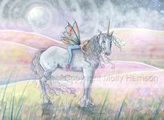 Unicorn and Fairy Fantasy Fine Art Print by by MollyHarrisonArt, $16.00