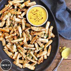 Celeriac Fries with Curry Lime Aioli  Celeriac Fries with Curry Lime Aioli  Smith St Paleo