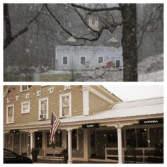 The Tamworth Distillery and Tamworth Lyceum got another blanket of snow this weekend! Art In The Age, Tamworth, Distillery, Cabin, Snow, Blanket, House Styles, Home Decor, Decoration Home