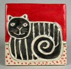 Handmade ceramic tile   4''x 4''   Black cat with white stripe