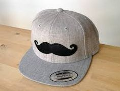 Image result for black and white moustache snapback