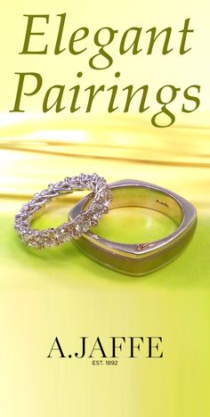 His & hers. Elegent pairings for you and your intended. Celebrate your eternal commitment with A.JAFFE wedding bands at http://www.ajaffe.com/wedding-bands #ajaffe #weddingbands #hisandhers