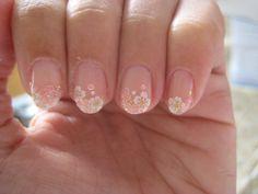 Flower nail #Pale pink #White