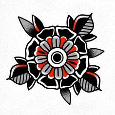 . Traditional Tattoo Flowers, Traditional Tattoo Old School, Traditional Roses, Traditional Tattoo Flash, Kunst Tattoos, Body Art Tattoos, Tattoo Drawings, Hand Tattoos, Old School Tattoo Designs