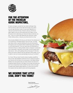 Burger King Integrated Advert By Buzzman: Master Burger | Ads of the World™ Guide Michelin, Papier Absorbant, Burger, Cheddar Cheese, King, Dishes, Fruit, Belgium, Food