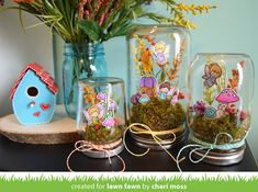 We have another awesome project video to share with you today. Chari created adorable Fairy Friends jars to decorate our CHA booth. We called them Fairy-ariums! Now Chari shows you how you can make y Diy Arts And Crafts, Crafts For Kids, Paper Crafts, Diy Crafts, Lawn Fawn Blog, Fairy Jars, Lawn Fawn Stamps, Ball Jars, Mason Jar Crafts
