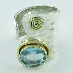 BLUE TOPAZ STONE SPARKLING DESIGN 925 SOLID STERLING SILVER WITH BRASS RING #SilvexImagesIndiaPvtLtd #Statement