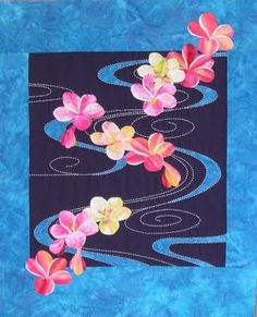 Plumeria floating on water, 22 x 33, by Sylvia Pippen