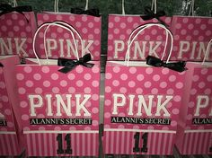 Victoria's Secret PINK Inspired Favor Gift Bags PINK 14th Birthday Party Ideas, Birthday Sleepover Ideas, 18th Party Ideas, Sleepover Birthday Parties, Birthday Favors, Pink Birthday, Birthday Goals, Victoria Secret Party, Pink Hotel