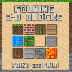 3d Folding paper cubes - Based on Minecraft Keywords: Minecraft, mine craft, video game, build, 3d, fun, ZisforZebra, Z is for Zebra, printable, brick, soil, dirt, sand, rock, tree, cube, fold, math, geometry, shape, build, create, geometric