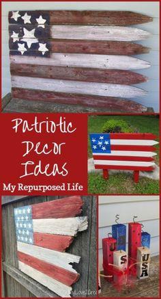 Wood flag decor july 4th