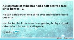 Inspiring feats - A classmate of mine has had a half-scarred face since he was 12.