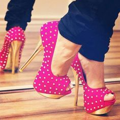 Hot pink with gold spiked heels .. sooo great