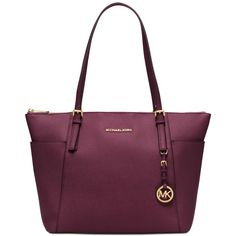 Michael Michael Kors Jet Set Item Large East West Top Zip Tote (€240) ❤ liked on Polyvore featuring bags, handbags, tote bags, plum, zip top tote, purple tote, michael kors tote bag, michael kors handbags and purple tote bags