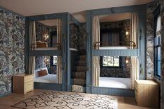 Double Bunk Beds, Queen Room, Design A Space, Outdoor Restaurant, Hotel Branding, Nantucket, Indoor Outdoor, Boutique, Interior