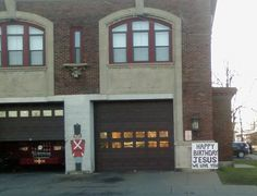 """A Christmas-themed sign outside of a firehouse in Utica, New York, is drawing the ire of atheists, who argue that its message poses a constitutional violation.  The placard, which is on display at the Utica Fire Department Station 4, reads, """"HAPPY BIRTHDAY JESUS WE LOVE YOU"""" — a..."""