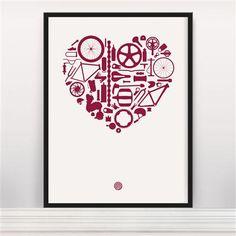 Anthony Oram - Bike Love, Screen-print, 30x40cm
