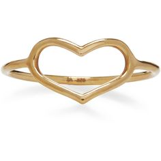Jordan Askill Yellow Gold Delicate Heart Ring (2.998.125 IDR) ❤ liked on Polyvore featuring jewelry, rings, heart jewellery, concrete jewelry, gold heart shaped ring, gold jewellery and gold heart jewelry