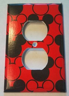 Black and Red Mickey Mouse Heads Outlet Plate Cover Bathroom Room Decor | eBay