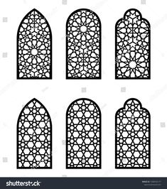 Find Arabic Arch Window Door Set Cnc stock images in HD and millions of other royalty-free stock photos, illustrations and vectors in the Shutterstock collection. Islamic Art Pattern, Pattern Art, Arched Windows, Windows And Doors, Cnc Cutting Design, Laser Cutting, Islamic Decor, Arabic Decor, Mosque Architecture