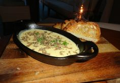 Truffle fondue with fontina cheese app paired with thick grilled bread.   Tons of #Truffles for #MiamiSpice Starting August 1