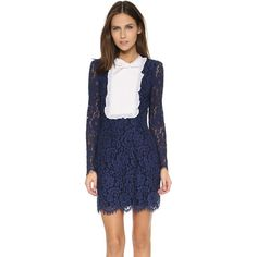 Cynthia Rowley Floral Lace Mini Dress featuring polyvore, women's fashion, clothing, dresses, parisian blue, mini dress, long sleeve dress, sheer lace dress, lace mini dress and see through dress