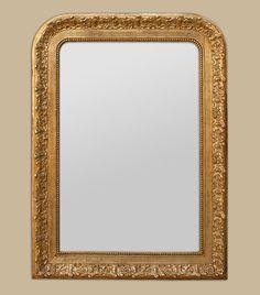 Miroir ancien dor coquille noeud carquois et flambeau for Miroir louis philippe