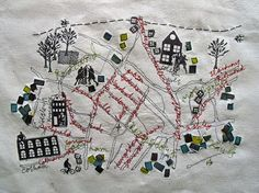 Embroidery map of a neighborhood. Would make a great house-warming gift, if you were crafty.