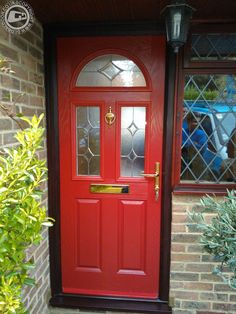 2 Panel 2 Square 1 Arch Abstract Composite Front Door in Red ...