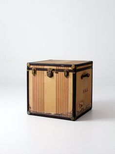 vintage OshKosh Chief steamer trunk square striped trunk by 86home
