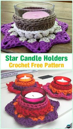 Crochet Star Candle holder by Nicole M