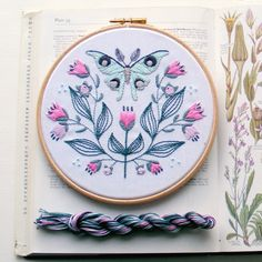Luna moth - symmetry and nature and a medley of  stitches to try out. One of our newest kits to join the gang.