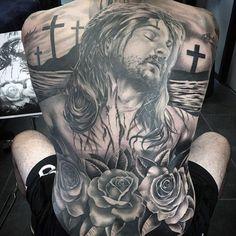 Full Back Mens Rose And Cross Jesus Tattoos