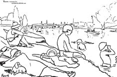 Bathers at Asnieres by Georges Seurat  Coloring page