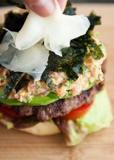 Spicy Tuna Sushi Roll Burger by userealbutter #Burger #Tuna #Sushi