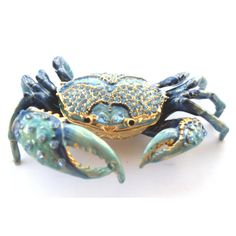 Blue Crab Jeweled Trinket Box. Blue and gold. In-laid with Czech crystals.
