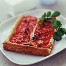 Roasted Tomato and Goats' Cheese Tart with Thyme. One of my favorite brunch recipes, so easy and good. From Delia Smith.
