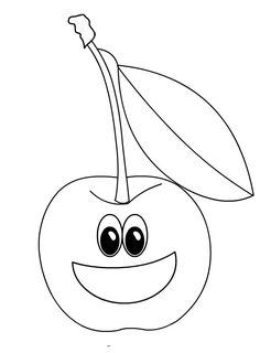 Apple Coloring Pages For Kids Fruits Printables