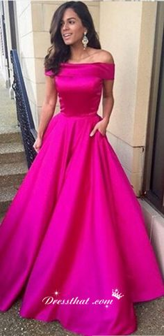 long prom dresses 2016, off the shoulder prom dresses, fuchsia prom dresses